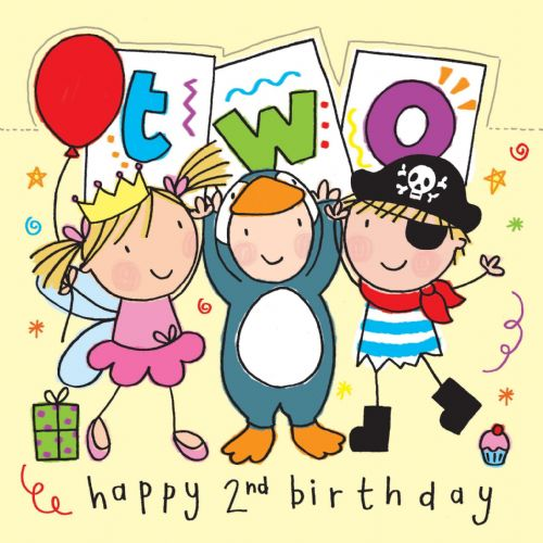Age 2 Sparkly Birthday Card for Children With Pirate and Princess TW426